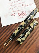 Big Belmont Fountain Pen, Rexall, Black & Pearl, 14k Monogram #4 Fine Flex Nib!