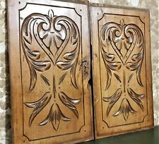 Pair amour love scroll leaves carving panel Antique french architectural salvage