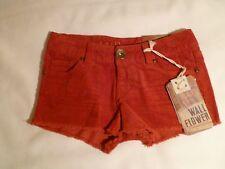 Wallflower Vintage Ladies Corduroy Cut Off  Shorts Brick Size 0 NWT MSRP $40.00