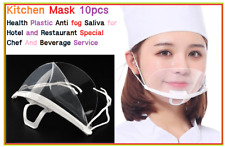 10pcs White Transparent plastic anti-fog mouth shield , restaurants,hotels,