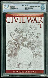 Civil War 1 CBCS 9.8, not CGC, Michael Turner Sketch Edition