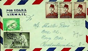INDONESIA 1961 11v ON AIRMAIL COVER FROM MEDAN SUMATRA TO CZECHOSLOVAKIA