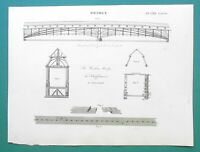 WOODEN BRIDGE Construction at Schaffhausen Rhine River - 1811 Antique Print