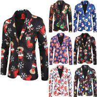 Men's Christmas Suit Jacket Novelty Xmas Printed Fancy Dress Button Blazer Coat