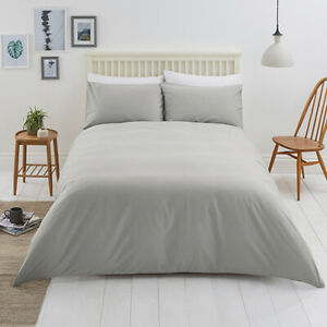 Sainsburys Dove Grey Plain KING BRUSHED 100% COTTON Bed Linen Set NEW Free Post