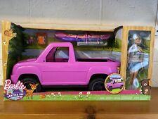 Barbie Camping Fun Doll, Truck & Kayak Vehicle Adventure Playset New