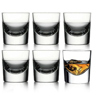 6 x 135ml Scotch Whiskey Liquor Drinking Thick Base Double Shot Glasses Tumblers