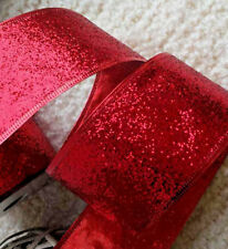 1m  63mm WIRED CHRISTMAS RIBBON RED GLITTER SPARKLE  - TREE BOWS GIFT FLORISTRY