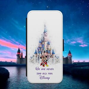 DISNEY MICKEY NEVER OLD FLIP WALLET PHONE CASE COVER FOR IPHONE SAMSUNG HUAWEI