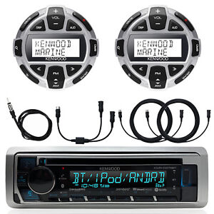 Kenwood Marine Boat CD Bluetooth Receiver, 2x Wired Remote, Extension, Adapter