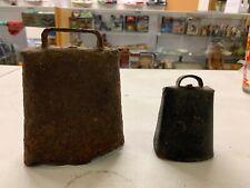 (2) vintage primitive rusty cowbells riveted