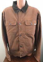 Mens M Medium Woolrich Telluride Canvas Jacket Barn Work Coat Brown Fleece Lined