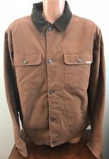 Mens M Medium Woolrich Telluride Canvas Jacket Barn Work Coat Brown Fleece Lined