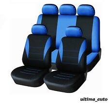 9 PCS FULL BLUE FABRIC SEAT COVERS SET VW JETTA GOLF MK3 MK4 MK5 MK6 TOURAN POLO
