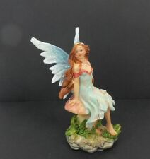Small Fairy Figurine With Blue Wings Sitting on Mushroom Mythical Fantasy Statue