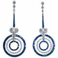 Vintage Art Deco 3.95 Ctw Round Diamond & Sapphire Dangle 14K Gold Over Earrings