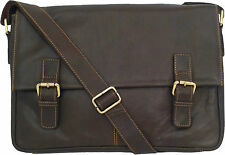 "UNICORN Real Leather 16.4"" Laptop Netbook Ultrabook Messenger Bag - Brown #5L"