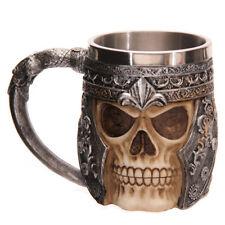 3D Striking Warrior Tankard Viking Skull Beer Mug Gothic Drinkware Vessel Helmet