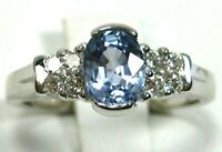 Blue Sapphire Ring 18K White Gold Solitaire VS GIA Appraised Heirloom $5,189