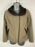 WOMENS MARMOT SIZE LARGE BROWN MIX CASUAL FUR LINED SOFT SHELL RAINCOAT JACKET
