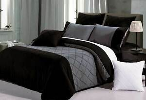 Arist Black Grey Quilt Cover 3pcs diamond-Pintuck duvet Doona Cover Set /options