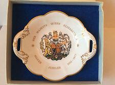 A Coalport China Queen Elizabeth II Silver Jubilee Twin Handled Dish 1977 boxed