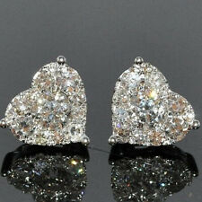 Love Heart Cut White Topaz CZ Stackable Ear Studs Crystal Gifts Stud Earrings
