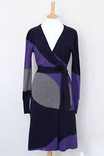 DIANE VON FURSTENBERG navy purple grey 100% wool belt wrap knit dress M Medium