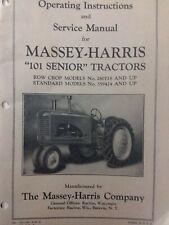 Massey Harris 101 Senior Farm Tractor Owners Amp Service Manual Row Crop Standard