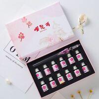 13Pcs/Set Cherry Blossom Dip Glass Pen + Ink Fountain Flower Pink Transparent