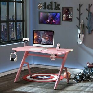 LED Ergonomic Gaming Desk Computer Table with Cup Holder Cable Management, Pink