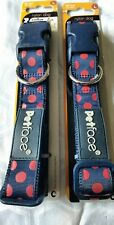 Dog Collar Large Petface Range. Navy blue red spots neck 19_28 inches