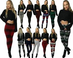 NEW Women Thick Winter Thermal Legging knit Fleece Lined Warm High Waist Sz 8-14