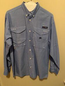 Columbia Men's Super Bonehead LS Fishing Shirt ~ Denim Blue ~ Small
