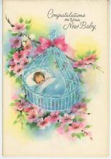 VINTAGE BABY CRADLE CHERRY BLOSSOMS GERALD MASSEY QUOTE GREETING CARD ART PRINT