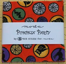 "Moda Halloween Fall Fabric - Pumpkin Party Deb Strain Orange - 42- 5"" Squares"