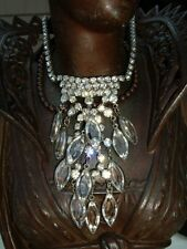 Vintage Rhinestone Bezel Set Open Back Navette Crystal Necklace Made in USA