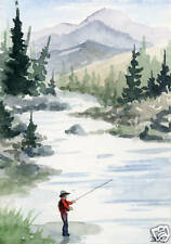"Fly Fishing Art Print ""Peaceful Waters"" Signed by Watercolor Artist DJ Rogers"