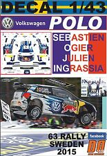 DECAL 1/43 VOLKSWAGEN POLO R WRC S.OGIER SWEDEN 2015 WINNER (01)