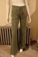NWT Ed Hardy Women's S Red Rose Forever Olive Green Flare Sweat Pants FREE GIFT!