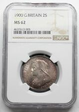 NGC MS62 UK GREAT Britain 1900 VICTORIA TWO 2 SHILLINGS 1 FLORIN SILVER COIN UNC