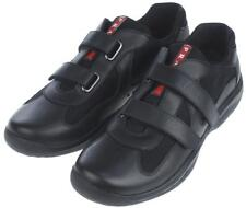 NEW PRADA AMERICA'S CUP BLACK LEATHER MESH TRAINERS VELCRO SHOES SNEAKERS 8.5