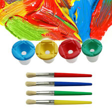 Spill Proof Paint Cups 4pcs Non Spill Paint Cup + 4pcs Paint Bristle Paint Brush