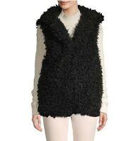 NWT $119 Renvy Shaggy Faux Fur Vest Black SOFT Cozy SAKS Womens Large L XL X