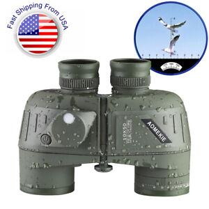 10X50 Military Marine BAK4 Prism Binoculars Waterproof With Rangefinder Compass