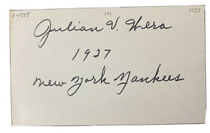 """JULIAN WERA 1927 NY YANKEES """"MURDERERS ROW"""" W.S. CHAMPS, SIGNED INDEX CARD"""