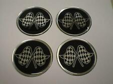 50mm (U1) Alloy Wheel Center Centre Badges Rally Motorsport Checkered Flag