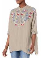 Johnny Was Gray Tunic Top L Floral Embroidery Bohemian Chick Casual blouse NWT