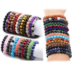 8mm Handmade Mixed Natural Gemstone Round Beads Healing Reiki Stretchy Bracelets