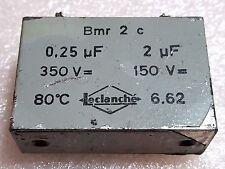 Leclanché 350V 0.25uF, 150V 2uF Dual Oil Capacitor Vintage 0.25MFD 2MFD 250nF